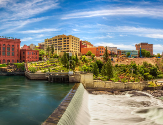 cityscape view of Washington Water Power building Spokane
